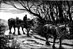 wood-engraving original print: Horses for Farmer's Glory